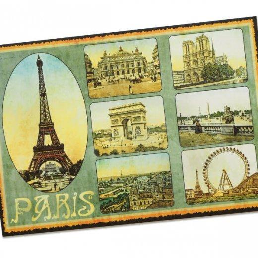 フランス ポストカード エッフェル塔 オペラ座 凱旋門 ノートルダム大聖堂 セーヌ川(Paris multivues)【画像2】