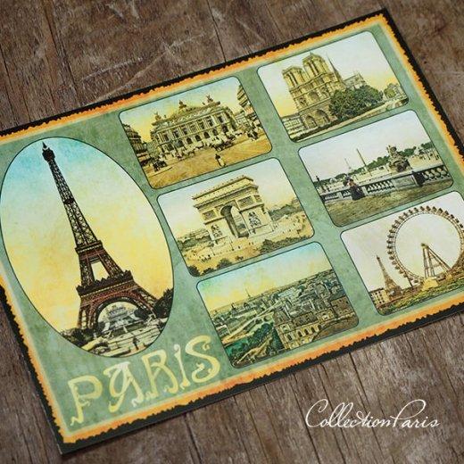 フランス ポストカード エッフェル塔 オペラ座 凱旋門 ノートルダム大聖堂 セーヌ川(Paris multivues)【画像6】