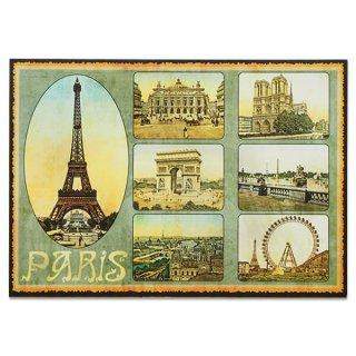 フランス ポストカード エッフェル塔 オペラ座 凱旋門 ノートルダム大聖堂 セーヌ川(Paris multivues)