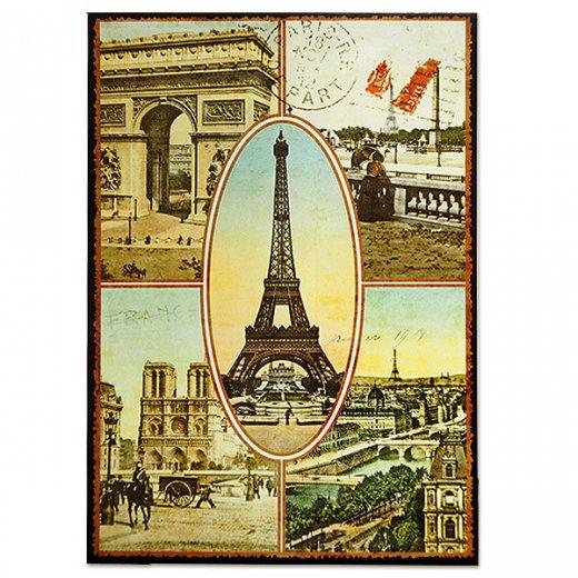 フランス ポストカード エッフェル塔 凱旋門 ノートルダム大聖堂 セーヌ川 コンコルド広場(Paris multivues)