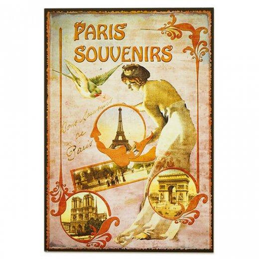 フランス ポストカード エッフェル塔 青い鳥 王冠 少女(paris souvenirs)