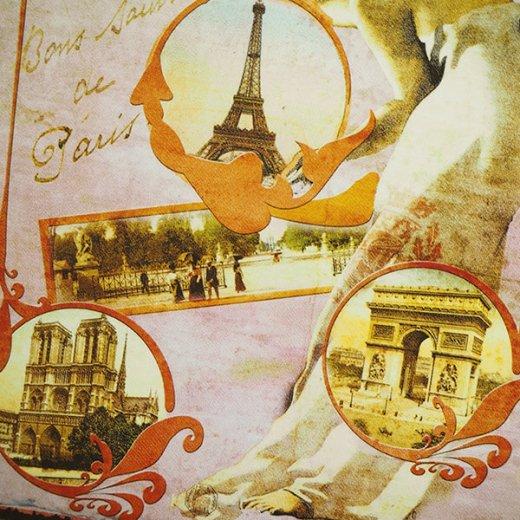 フランス ポストカード エッフェル塔 青い鳥 王冠 少女(paris souvenirs)【画像2】