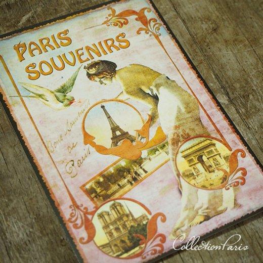 フランス ポストカード エッフェル塔 青い鳥 王冠 少女(paris souvenirs)【画像5】
