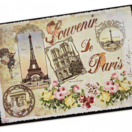 フランス ポストカード エッフェル塔 凱旋門 ノートルダム大聖堂 コンコルド広場 バラ(souvenir de paris)【画像3】