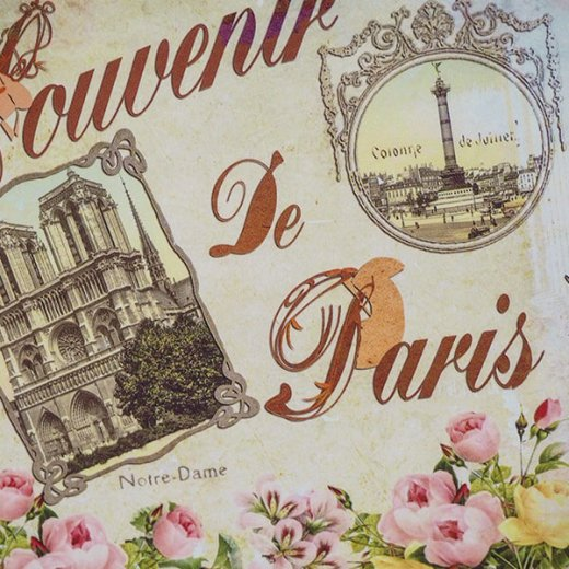 フランス ポストカード エッフェル塔 凱旋門 ノートルダム大聖堂 コンコルド広場 バラ(souvenir de paris)【画像4】