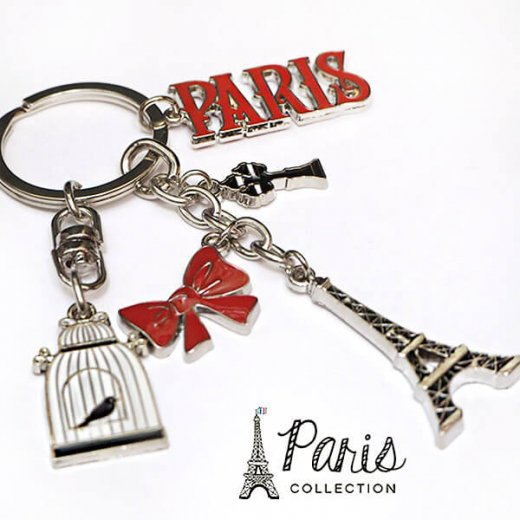 フランス 輸入キーホルダー エッフェル塔 リボン 街頭 PARISロゴ 鳥かご【PARISコレクション】【画像3】