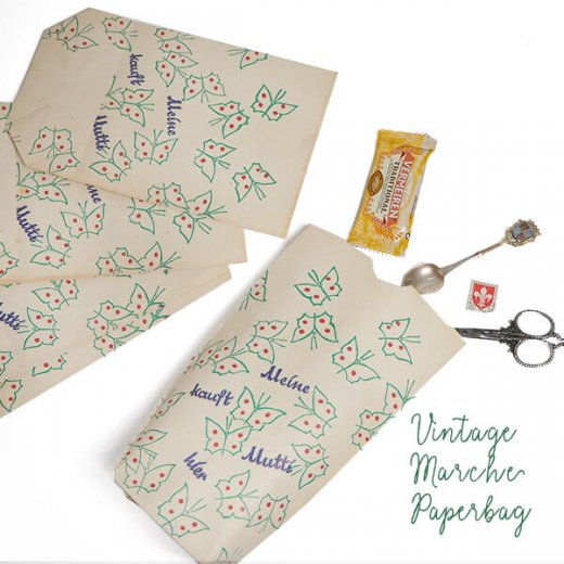 マルシェ袋  【単品】ヴィンテージ DDR時代  バタフライ ちょうちょ ドイツ 海外市場の紙袋 22×14cm