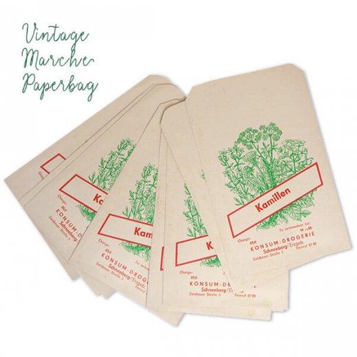 マルシェ袋【単品】ヴィンテージ DDR時代  カモミール ドイツ 海外市場の紙袋 18.5×10.5cm