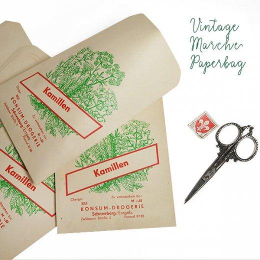 マルシェ袋【単品】ヴィンテージ DDR時代  カモミール ドイツ 海外市場の紙袋 18.5×10.5cm【画像2】