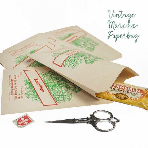 マルシェ袋【単品】ヴィンテージ DDR時代  カモミール ドイツ 海外市場の紙袋 18.5×10.5cm【画像6】
