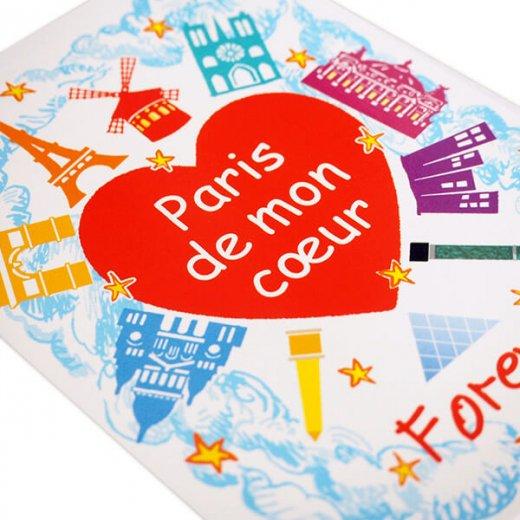 フランス ポストカード エッフェル塔 凱旋門 サクレ・クール寺院(Paris de mon coeur)【画像3】