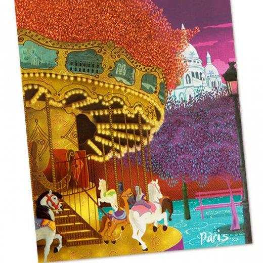 フランス ポストカード サクレ・クール寺院 メリー・ゴー・ラウンド(Montmartre)【画像3】
