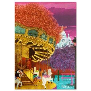 フランス ポストカード サクレ・クール寺院 メリー・ゴー・ラウンド(Montmartre)