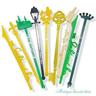USA アンティーク マドラー  SwizzleSticks アドバタイジング 【Bタイプ・9本set】