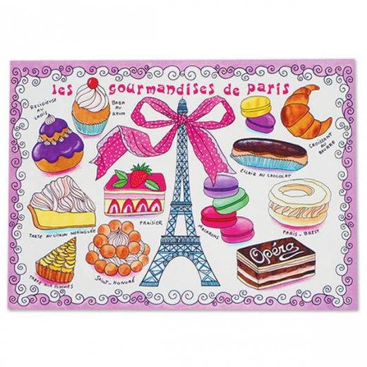 フランス ポストカード エッフェル塔  マカロン スイーツほか(les gourmandises de Paris)