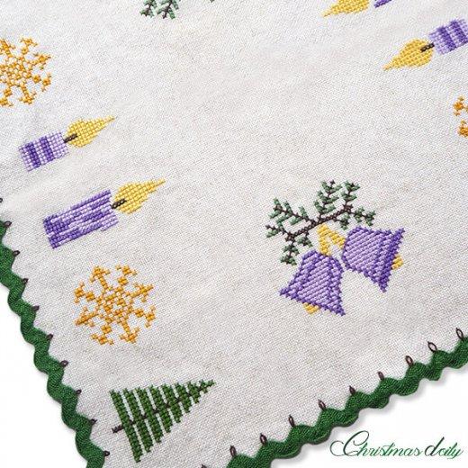 ドイツ クリスマス クロス(39×41)ヴィンテージ 【手刺繍 キャンドル・ツリー クロスステッチ】【画像2】