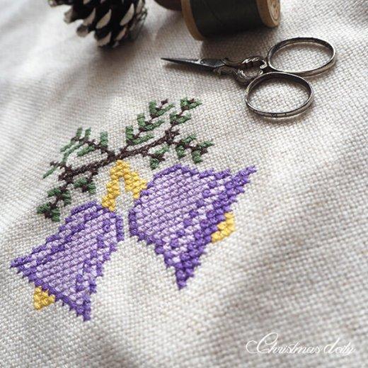 ドイツ クリスマス クロス(39×41)ヴィンテージ 【手刺繍 キャンドル・ツリー クロスステッチ】【画像7】
