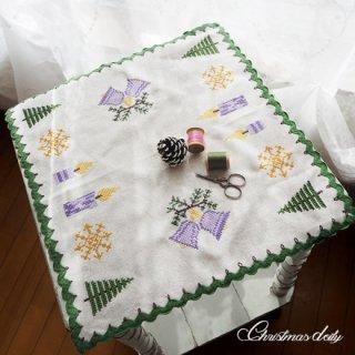 ドイツ クリスマス クロス(39×41)ヴィンテージ 【手刺繍 キャンドル・ツリー クロスステッチ】