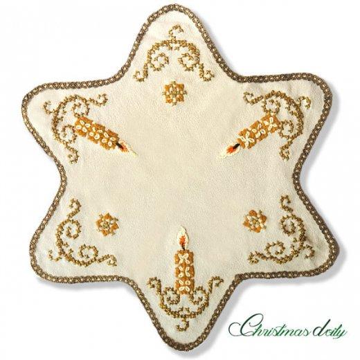ドイツ クリスマス ドイリー(直径46cm)ヴィンテージ 【手刺繍 ツリー 星型 Gold】