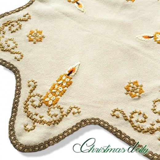 ドイツ クリスマス ドイリー(直径46cm)ヴィンテージ 【手刺繍 ツリー 星型 Gold】【画像2】