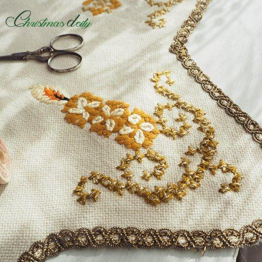 ドイツ クリスマス ドイリー(直径46cm)ヴィンテージ 【手刺繍 ツリー 星型 Gold】【画像8】