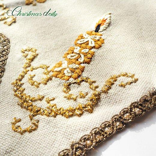 ドイツ クリスマス ドイリー(直径46cm)ヴィンテージ 【手刺繍 ツリー 星型 Gold】【画像9】