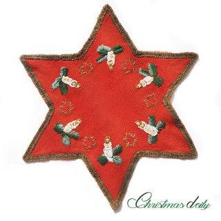 ドイツ クリスマス ドイリー(直径32cm)ヴィンテージ 【手刺繍 ツリー 星型 red】