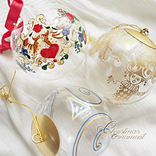 ドイツ ヴィンテージ クリスマスオーナメント【3個セット】 直径8cm  小鳥・ピエロ・ライン