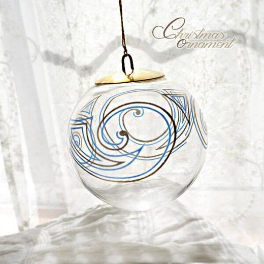 ドイツ ヴィンテージ クリスマスオーナメント【3個セット】 直径8cm  小鳥・ピエロ・ライン【画像4】