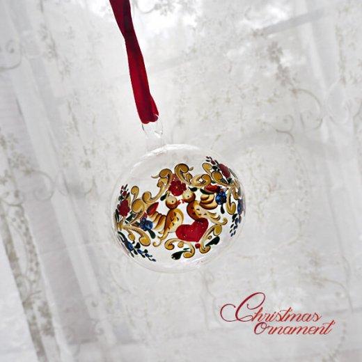 ドイツ ヴィンテージ クリスマスオーナメント【3個セット】 直径8cm  小鳥・ピエロ・ライン【画像5】