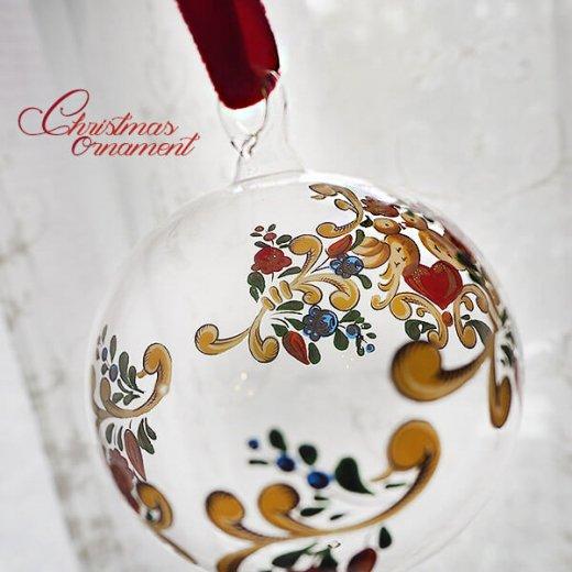 ドイツ ヴィンテージ クリスマスオーナメント【3個セット】 直径8cm  小鳥・ピエロ・ライン【画像7】
