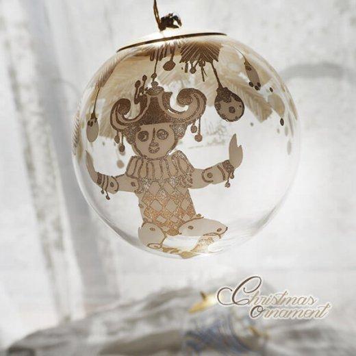 ドイツ ヴィンテージ クリスマスオーナメント【3個セット】 直径8cm  小鳥・ピエロ・ライン【画像9】