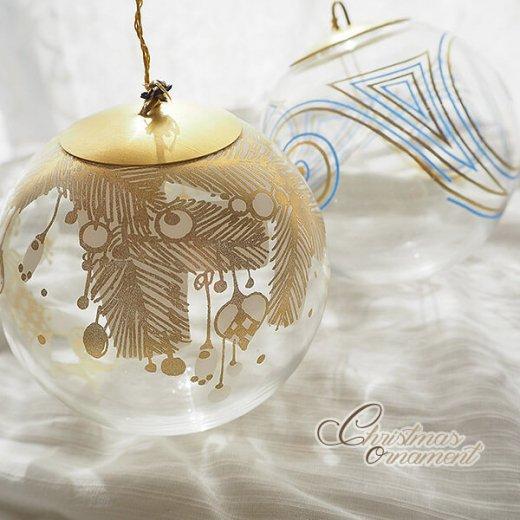 ドイツ ヴィンテージ クリスマスオーナメント【3個セット】 直径8cm  小鳥・ピエロ・ライン【画像10】