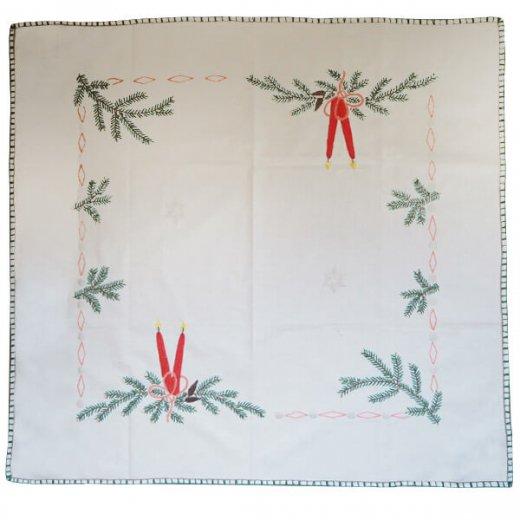 ドイツ クリスマス テーブルクロス(76×70)ヴィンテージ 【手刺繍 キャンドル・氷の結晶・もみの葉】【画像3】