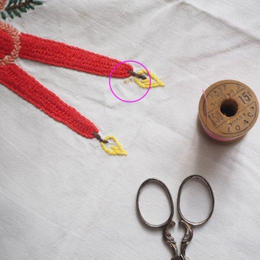 ドイツ クリスマス テーブルクロス(76×70)ヴィンテージ 【手刺繍 キャンドル・氷の結晶・もみの葉】【画像9】