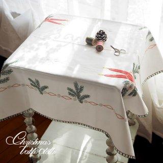 ドイツ クリスマス テーブルクロス(76×70)ヴィンテージ 【手刺繍 キャンドル・氷の結晶・もみの葉】