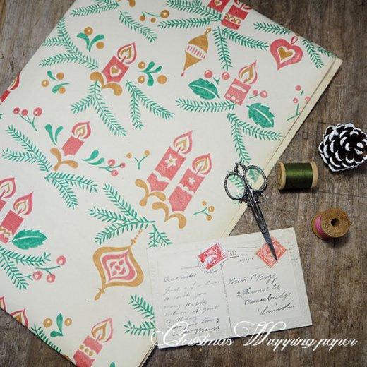 ドイツ クリスマス ヴィンテージ ラッピング包装紙 75×52cm【キャンドルオーナメント】【画像3】