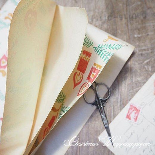 ドイツ クリスマス ヴィンテージ ラッピング包装紙 75×52cm【キャンドルオーナメント】【画像5】