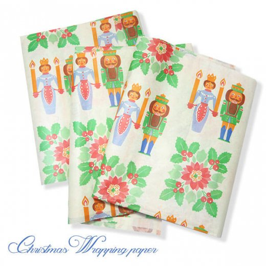 ドイツ クリスマス ヴィンテージ ラッピング包装紙 51×78cm【くるみ割り人形】