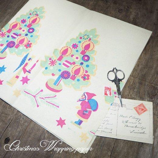 ドイツ クリスマス ヴィンテージ ラッピング包装紙 66×73cm【ツリーとくるみ割り人形】【画像6】