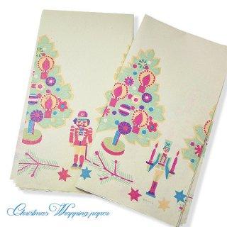 味紙 ラベル チケット 伝票  ドイツ クリスマス ヴィンテージ ラッピング包装紙 66×73cm【ツリーとくるみ割り人形】