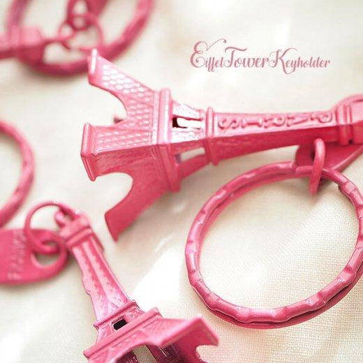 フランスお土産 エッフェル塔キーホルダー 単品売り【rose pink】【画像2】