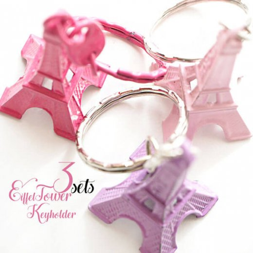 【セットがお得】エッフェル塔キーホルダー3個セット【rosepink lavender babypink】【画像3】