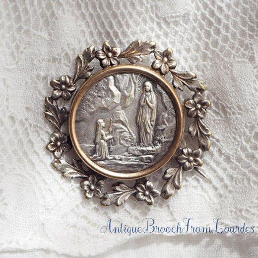 フランス蚤の市より アンティーク ルルドの泉 聖母マリア ベルナデッタフラワーブローチ