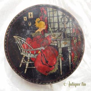 ガーリー & 乙女 アンティーク ヴィンテージ USA  1900年代初頭 アンティーク ヴィクトリアン朝 TIN缶 【TINDECO社】