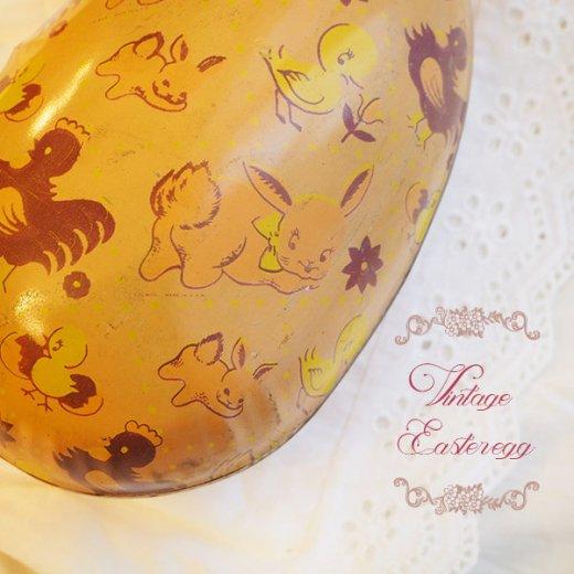 イギリス 1950年代 アンティーク イースターエッグ【D】ピーチ・ティン缶 復活祭うさぎ ひよこ【画像2】