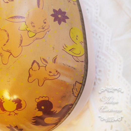 イギリス 1950年代 アンティーク イースターエッグ【D】ピーチ・ティン缶 復活祭うさぎ ひよこ【画像3】