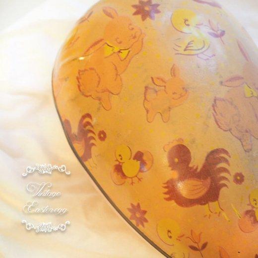 イギリス 1950年代 アンティーク イースターエッグ【C】ピーチ・ティン缶 復活祭うさぎ ひよこ【画像2】