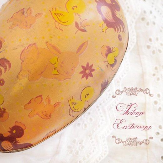 イギリス 1950年代 アンティーク イースターエッグ【C】ピーチ・ティン缶 復活祭うさぎ ひよこ【画像3】