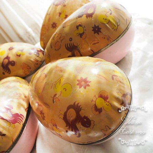 イギリス 1950年代 アンティーク イースターエッグ【C】ピーチ・ティン缶 復活祭うさぎ ひよこ【画像6】